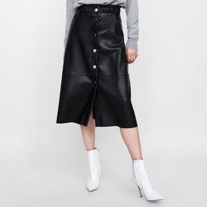 Zara faux leather midi skirt size small
